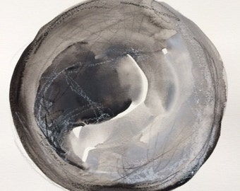 Original watercolor, graphite, and oil pastel painting - sphere, circle, black and white circles, modern art