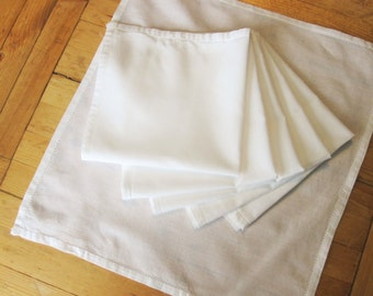 "Six 15"" White Cotton Luncheon Napkins  - Hemmed - Mix and Match - Luncheons and Dinners - Easy Washing Cotton"