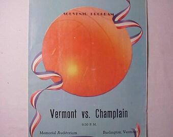 December 1, 1951 Vermont vs Champlain Souvenir Basketball Program, UVM University Program