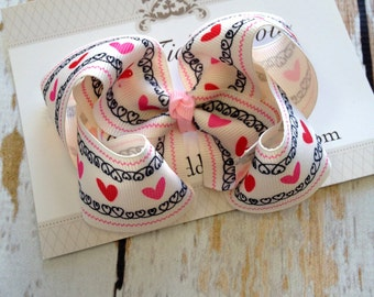 Heart Print Boutique Hairbow - Boutique Hairbow - Hairbow - Valentines Day Bow - Valentines Boutiqu Bow