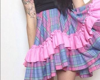 VTG Pink Plaid Ruffle Skirt