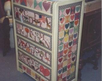 Custom Order Painted Furniture Handpainted Vintage Waterfall Dresser Whimsical Childs Room Nursery Beth Baker Artist Personalized Art