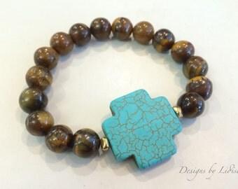 Tigereye and Turquoise Beaded Statement Bracelet