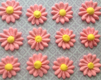 Pink Royal Icing Daisies (15) Cake Decorations