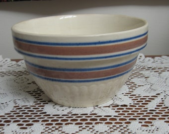Blue and brown striped yelloware bowl