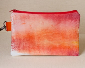 Red & Orange Faded Watercolor Clutch