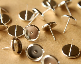 30 pc. 10mm Ear Post Blank Cabochon Setting Bright Silver, Nickel Free | FI-123