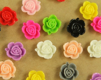 CLOSEOUT - 20 pc. Multi Colored Blooming Rose Cabochons 15mm | RES-462