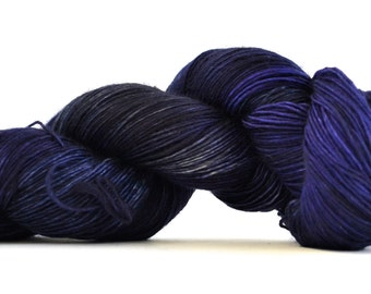 Hand dyed yarn pick your base - Midnight - sw merino cashmere nylon fingering dk worsted