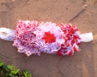 Red, Pink and White Heart Shabby Flower Headband