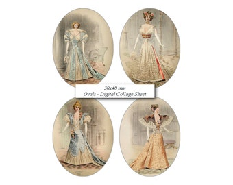 30x40 mm Ovals Victorian Dress Mannequin in French Fashion Magazine  image Digital Collage Sheet for Cabochon