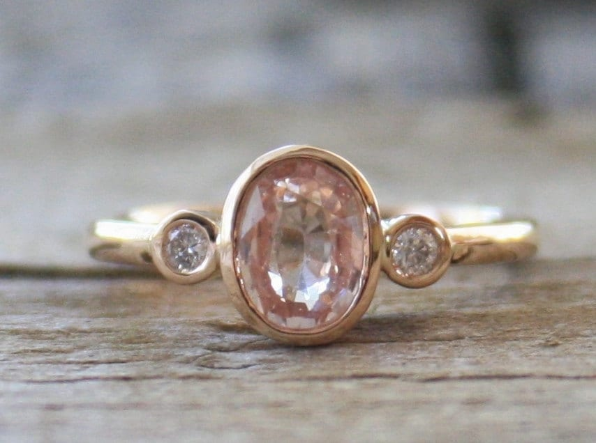 Oval Champagne Peach Sapphire Diamond Engagement By Studio1040