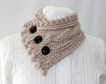 Neck Warmer, Cable Knit Cowl, Tan Cowl, Fisherman's Wife Cowl - Tan