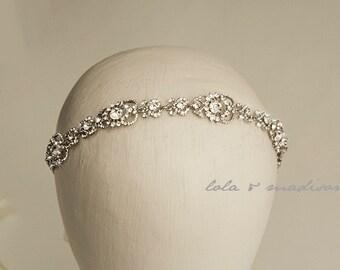 Laurie - Vintage inspired wedding Headpiece, Crystal Rhinestone Headband, Bridal Hair Piece,
