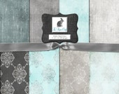 """Teal & Gray Damask and Solids Digital Background Paper - Scrapbook Paper - Collage Paper (12 """"x 12"""" 300dpi) Instant Download - 8 JPG Files"""