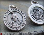Saint Florian. St Florian Necklace. St. Florian. Necklace. Catholic. Saint Medal Charm. Patron Saint. Firefighter. Firefighters. Gift.