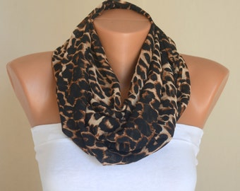 Cheetah chiffon infinity scarf-Circle scarf-Birthday gifts-Women's accessory-Winter scarf-Cowl-Neck warmer-Valentines day gifts