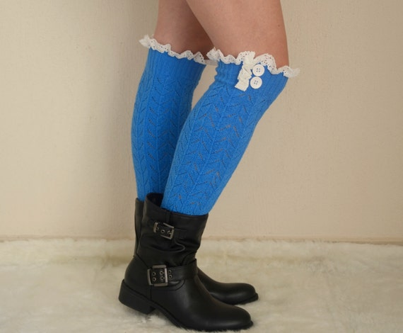 PLUS SIZE..Cobalt Blue Knit Lace Leg Warmers Boot Socks ...