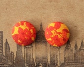 Fabric Covered Button Earrings / Wholesale Jewelry / Burnt Orange / Vintage Inspired / Gifts for Her / Brooklyn Made / Small Stud Earrings