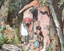 Hansel and Gretel -  Vintage Art Print or Note Card
