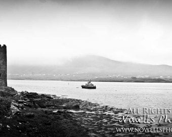 By Land and By Sea on Foggy Day in Black and White - Dramatic Northern Ireland Coast Line Ship and Tower Photography