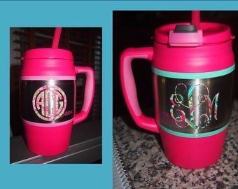 34 oz. Hot Pink Bubba Keg with Lilly Pulitzer Print Pattern Monogram in Laminated Vinyl - Jug is Personalized on 2 Sides - w/ Straw