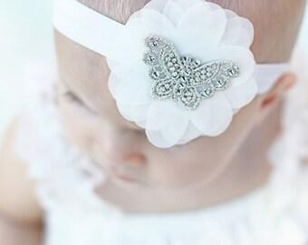 Butterfly Headband with Ruffles Chiffon and Swarovski Rhinestones, Newborn baby headband, Photo Prop