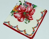 Red Iris on White  Background Hankie  for Crafting Sewing Collage or for Use Lot H-11