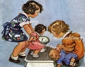 """Little Girls and Their Dolls """"How Much Does She Weigh"""" Restored Art Print from 1937 Great Wall Art for Little Girl's Room  #83"""
