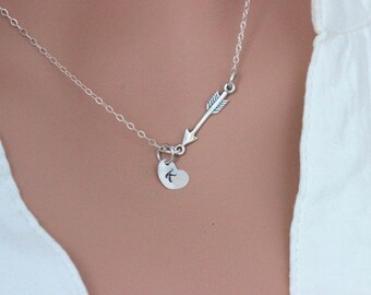 Sideways Arrow with heart initial Necklace . Sterling Silver Arrow Necklace.Skinny Sideways Necklace.Heart Initial , Arrow and Heart initial