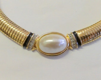 Vintage Kenneth Lane Pearl Crystal Choker / Necklace