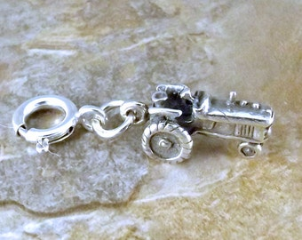 Sterling Silver Tractor Charm With 8mm Spring Ring for Charm Bracelets - 0081