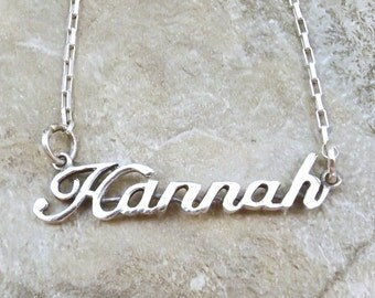 Sterling Silver Name Necklace -Hannah - on Sterling Silver Drawn Box Chain in Length of Choice - 3173