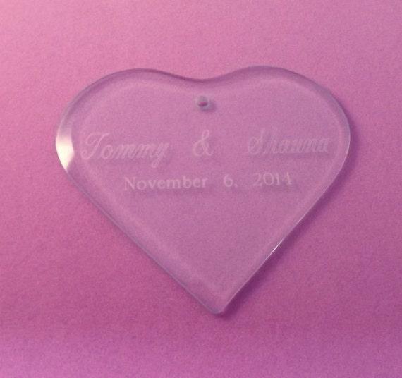 Wedding Cake Topper Engraved Glass Heart Christmas