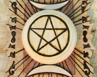 Pentagram and Crescent Moon Plaque for Pagan Wicca Magic Goth Occult use or display