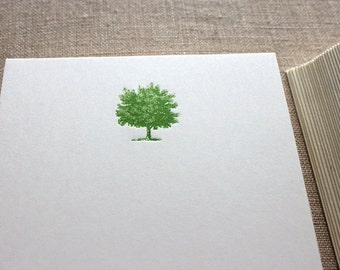 Flat Card Set with Letterpress Tree (vertical)