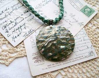 Kumihimo Necklace - Light Green Satin Dark Green Hemp - Green Abalone Reversible Pendant