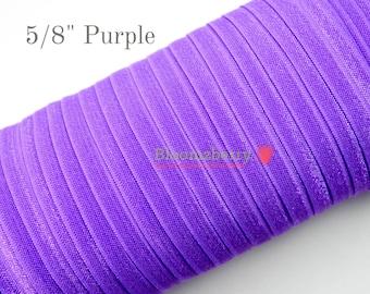 "5/8"" Fold Over Elastic - Medium Purple Color  - Plain Elastic Fold Over - Purple Fold Over Elastic -Hair Accessories Supplies"