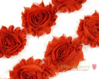 "2.5"" Shabby Rose Trim- Brunt orange Color- Dark Orange Shabby Rose Trim - Brunt Orange Chiffon Trim - Hair Accessories Supplies"