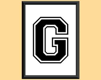 Typography Giclee Print Monogram Initial Wall Art Varsity Letter G