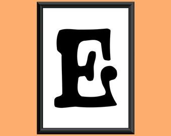 Typography DIGITAL PRINT Monogram Initial Wall Art Sixties Letter E 5x7