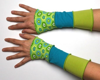 Mittens Arm Warmers spring 3 colours Wrist Warmers patchwork cotton flower green turquoise