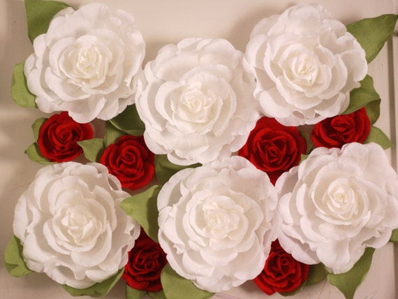 giant paper flower wall display  wedding backdrop  shop