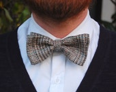 Tweed Clip-On Bow Tie in Grey - Adult and Kids Sizes - Made to Order - Pre-Tied Bow Tie with Vintage Fabric.