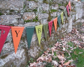 Happy Birthday Banner - Autumn Fall Festival (Bunting, Sign, Flags, Pennants) in CRACKLE. Party Decoration