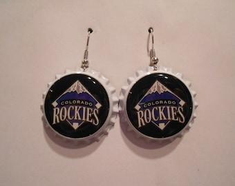 Colorado Rockies bottle cap earrings
