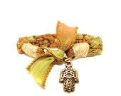 Hamsa Silk Ribbon Bracelet Hand of Fatima Yoga Jewelry Earthy Fall Autumn Original OOAK Hemp Unique Yogi Gift For Her Christmas Under 50