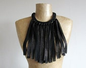 Black and gold fabric necklace with fringe, statement necklace, bib, upcycled, recycled, repurposed, eco-friendly jewellery, one of a kind