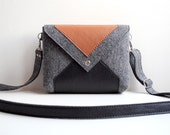 Dark Gray Brown Black Wool Felt Genuine Leather Messenger Crossbody Bag