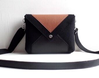 Black Brown Wool Felt Genuine Leather Messenger Crossbody Bag